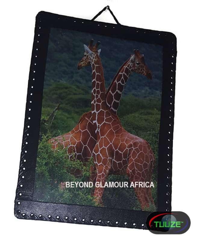 Giraffe Leather Bound Wall Art