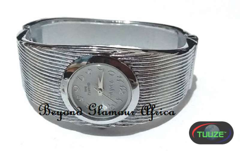 Ladies Silver Plaited Bangle watch