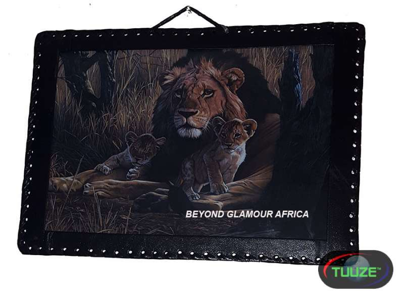 Lion Leather Bound African Art