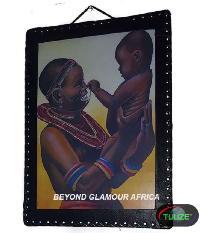 Mother Child African Leather Bound Art